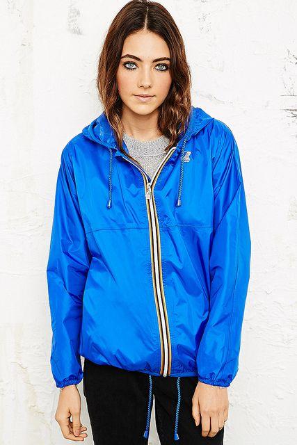 blue K-way rain jacket