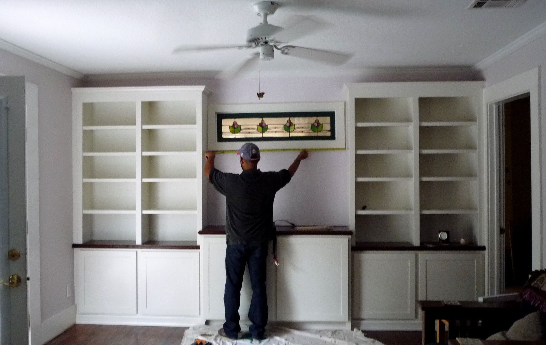 Nice Custom Bookcases With Clean Shaker Style Doors And A Stained