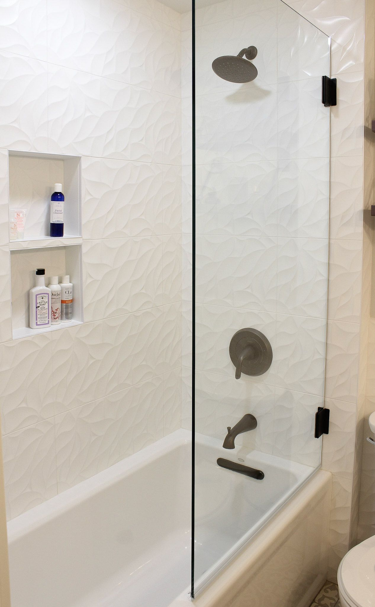 jazz bloom matte white tile from emser built in niche and oil