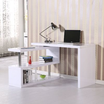 Homcom Rotating Computer Desk Office Furniture Modern Home Office Furniture Corner Writing Desk