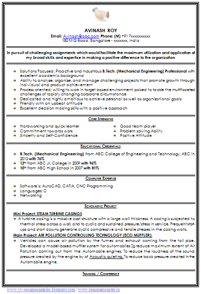 Professional Curriculum Vitae Sample Template Of A Fresher Mechanical Engineer Resume Mechanical Engineer Resume Resume Format For Freshers Engineering Resume