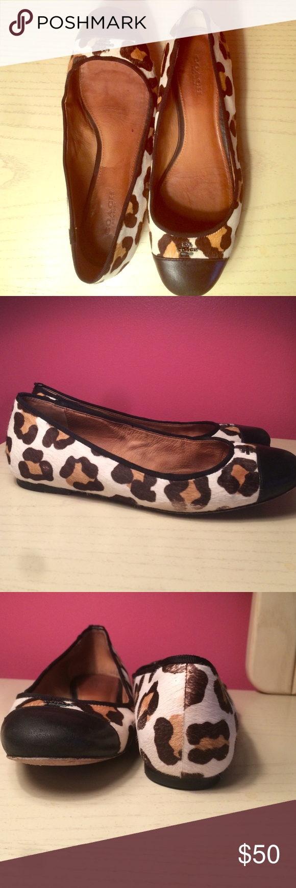 Coach flats- Samantha in wild beast print Haircalf shoe with a smooth leather toe. Slightly worn but I'm great condition. Background is an off white with light and dark brown spots. Says Coach near the toe on both feet Coach Shoes Flats & Loafers