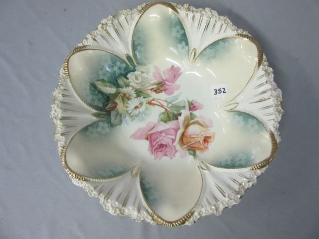 "Lot # : 352 - RS Prussia 10 1/2"" floral bowl w/long stemmed  $35"