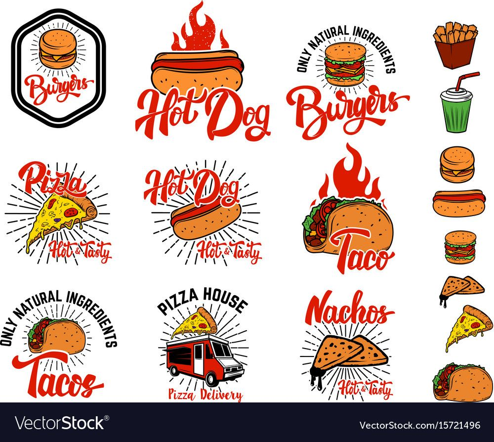 Set of hand drawn fast food emblems pizza hot dog Vector