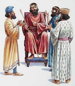 The King and his advisers.   As the king asks why is it that my people do not have enough money yet a few have a lot of it.   Remember this chapter?