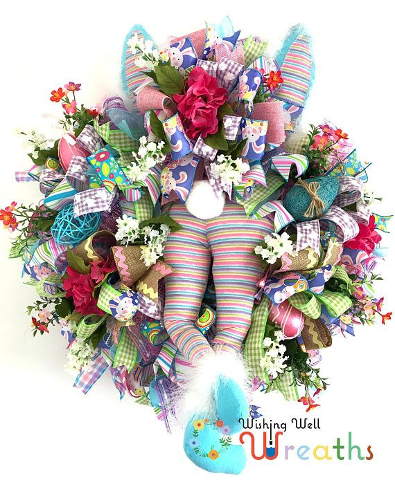 Easter Front Door Wreath, Bunny Butt Wreath, Easter Wreath, Easter ...
