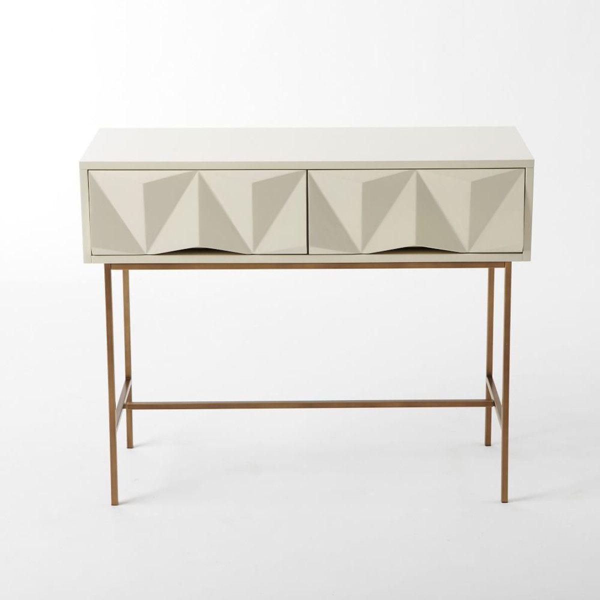 Sculpted Geo Console Parchment Bath Furniture