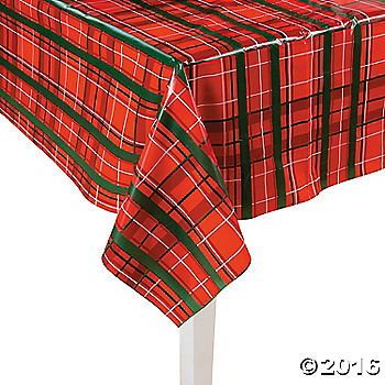 Plaid Christmas Plastic Tablecloth Roll Plaid Christmas
