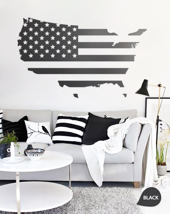 large vinyl wall usa map decal united states wall sticker m004