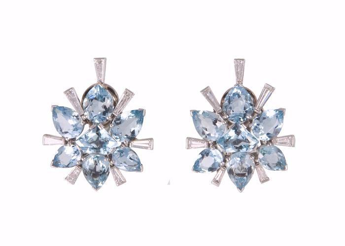 Pair of platinum and diamond earclips set with aquamarines and diamonds,Cartier,circa 1950