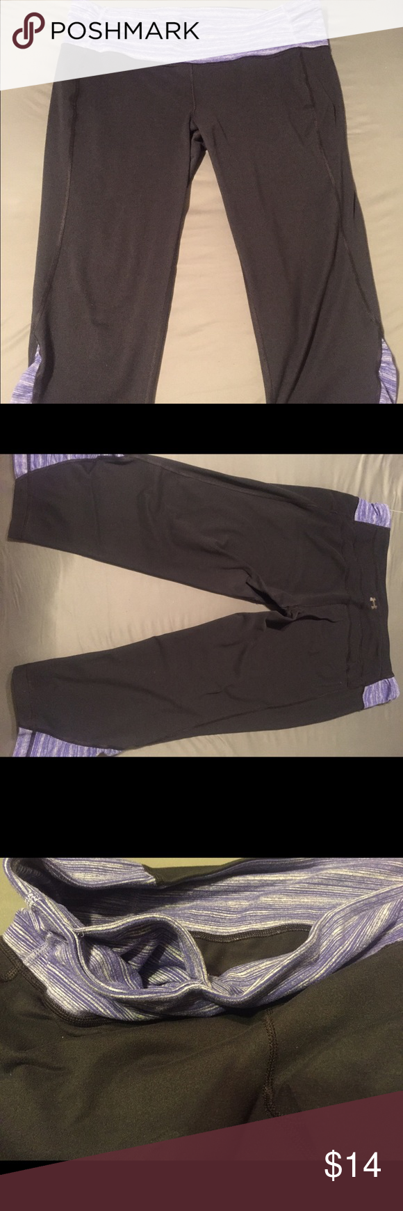 Under Armour Workout Leggings Under Armour workout leggings, thicker fabric- not see through when stretching! Waistband hidden pocket for keys/cards. Under Armour Pants Leggings