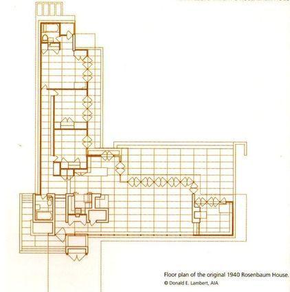 Floor Plan of Rosenbaum House by FL Wright. | Drawings ... on rosenbaum house floor plan, forks of cypress florence alabama, things to do tuscaloosa alabama, cheaha state park alabama, wilson dam florence alabama,