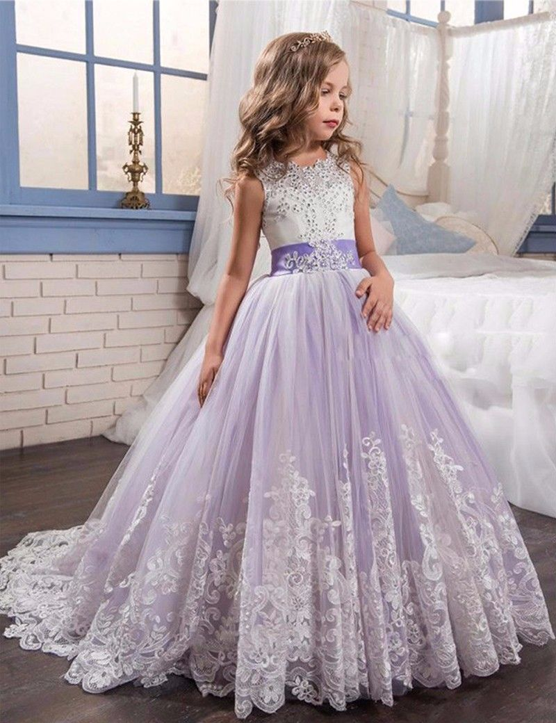 WF809 Lace Crystal Ball Gown Girl Dresses 2017 Cute Bow Appliques ...