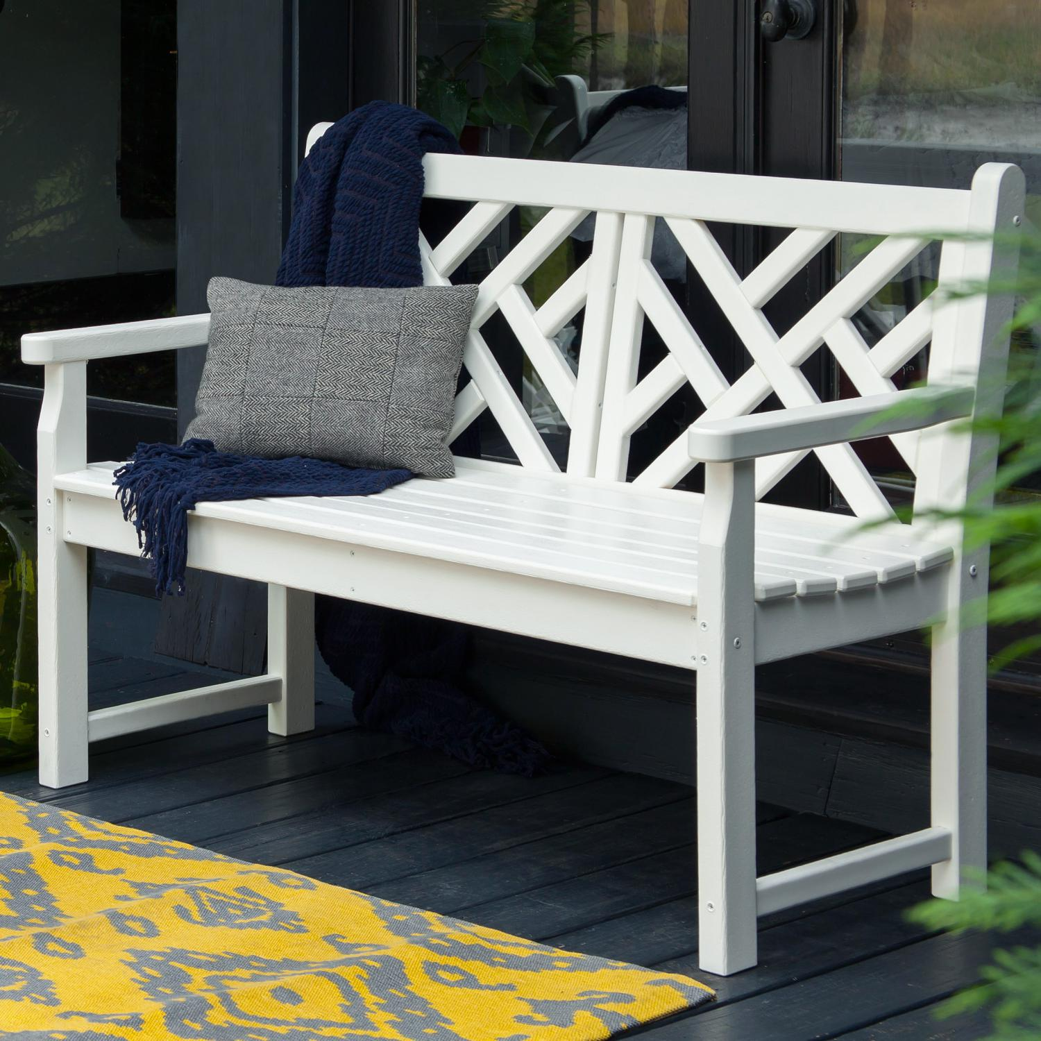 Polywood Chippendale White Recycled Plastic Wood 48 Inch Patio