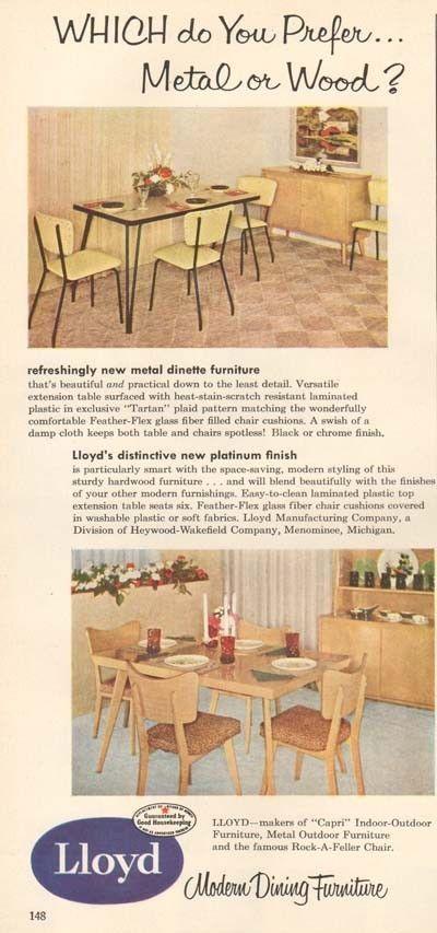 1950s Vintage Lloyd Modern Dining Furniture Dinette Set Table