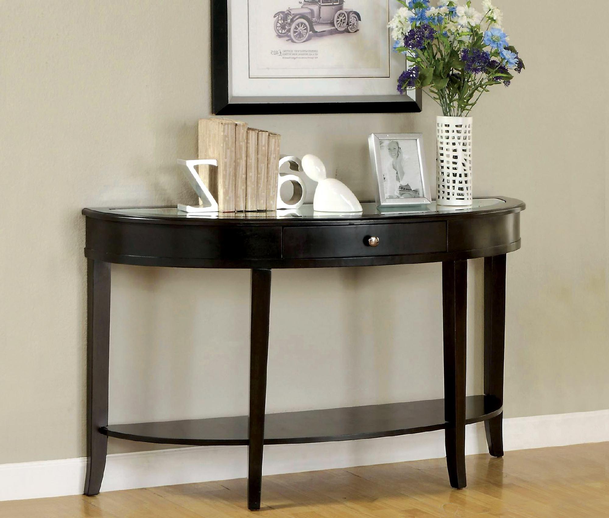 Furniture of America Half Moon Bay Dark Walnut Sofa Table with Drawer  Brown. Furniture of America Half Moon Bay Dark Walnut Sofa Table with