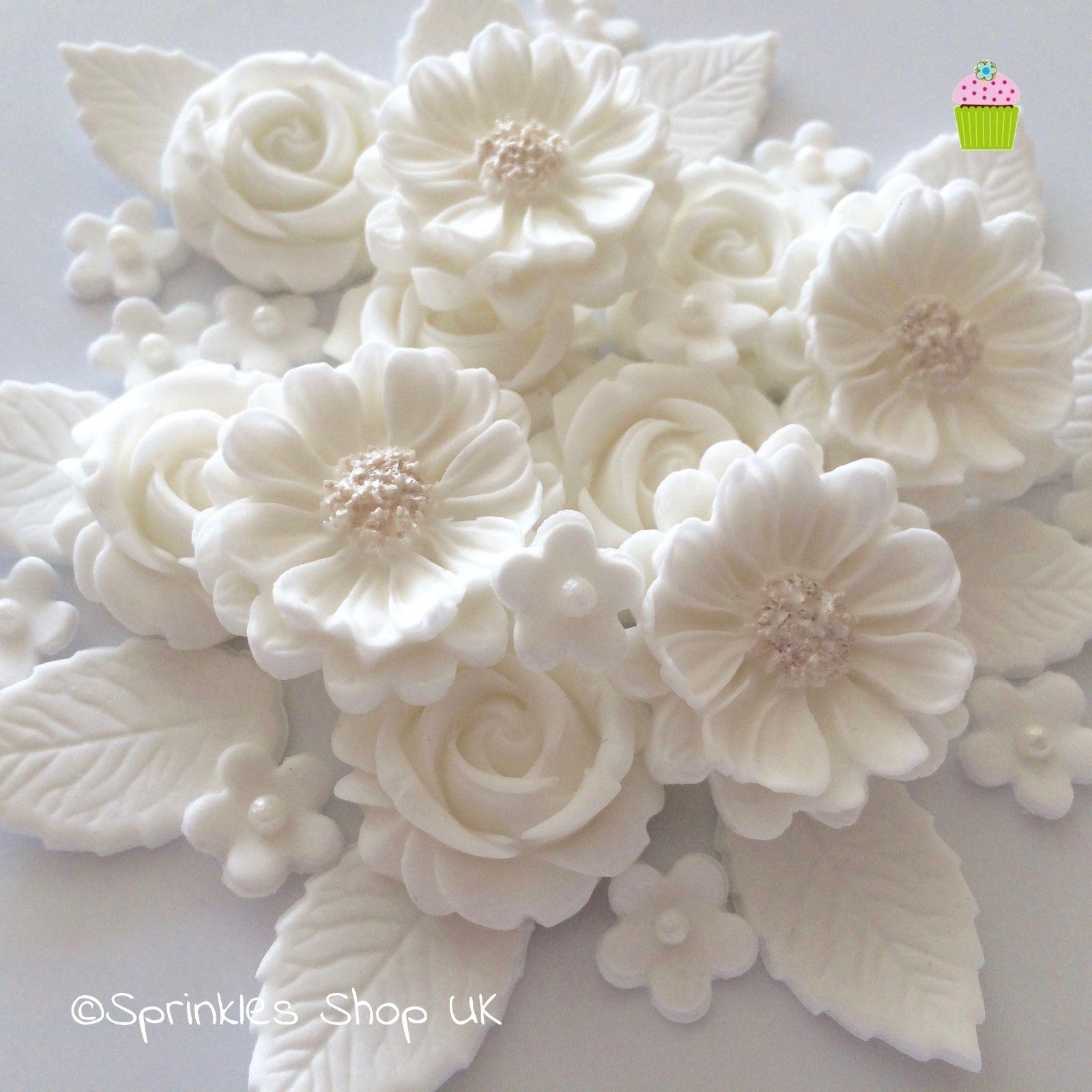 White Wedding Rose Bouquet Edible Sugar Paste Flowers Cake