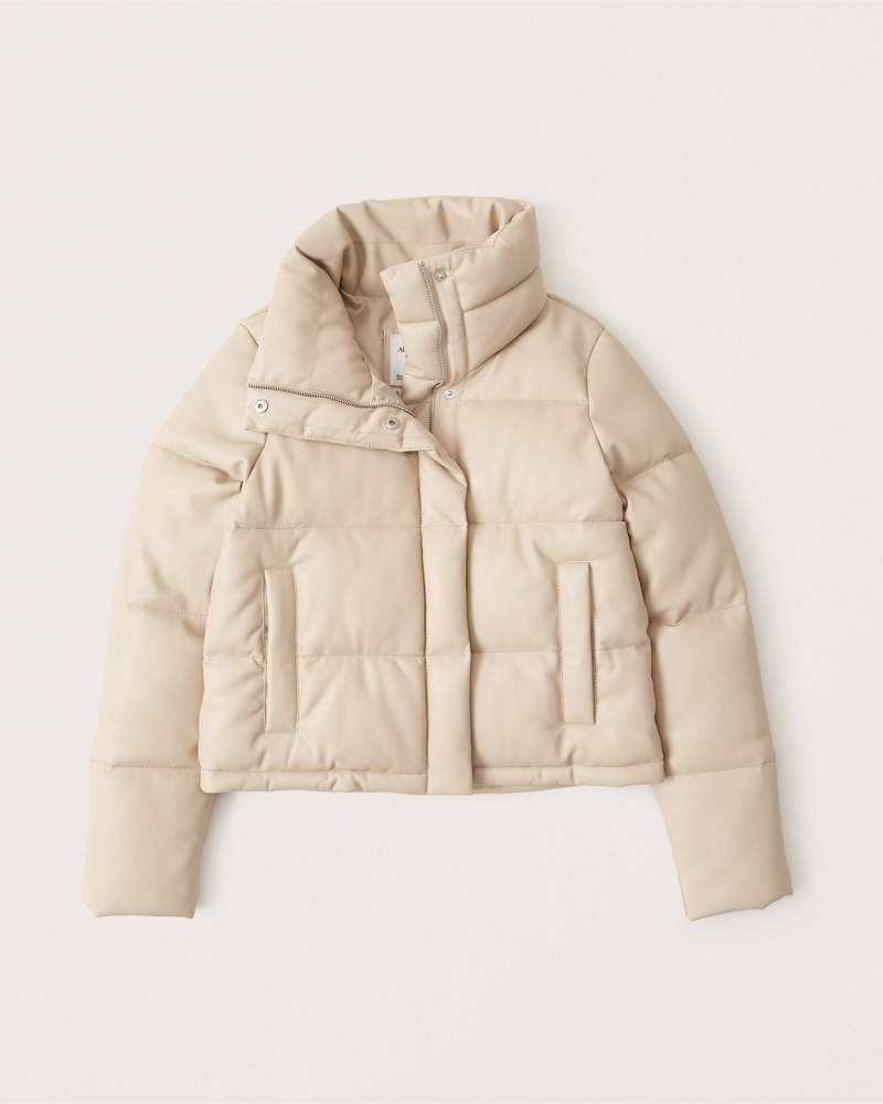 Women S Faux Leather Mini Puffer Women S Coats Jackets Abercrombie Com In 2020 Puffer Jacket Outfit Women S Coats Jackets Leather Mini
