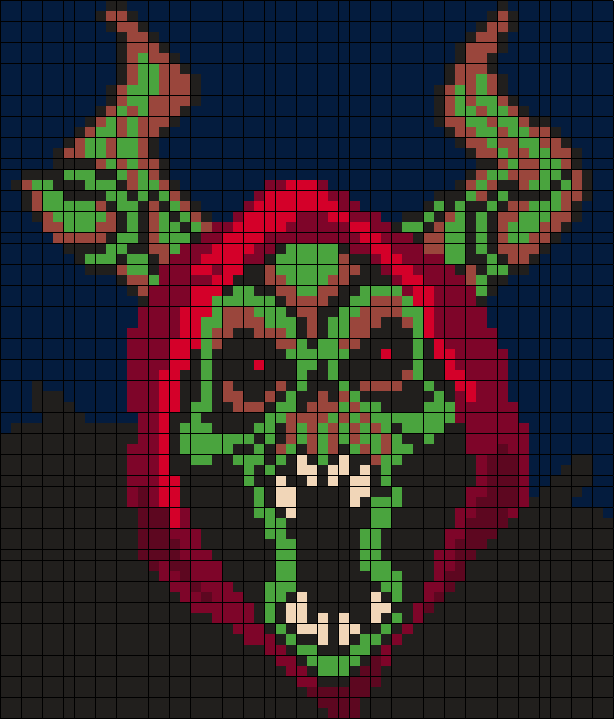 The Horn King from The Black Cauldron (Square Grid Pattern 58 X 68)