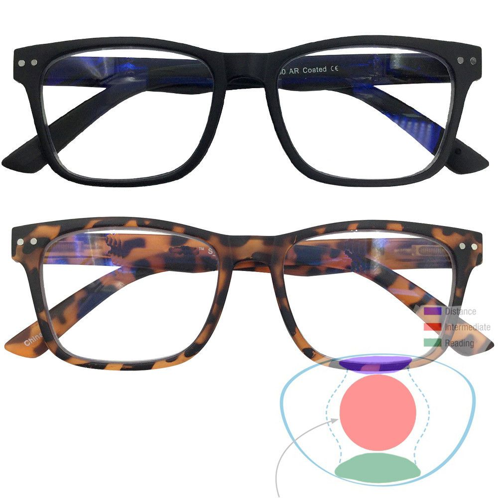 f3344425802 Reading Glasses 67670  No Line Progressive Retro Square Frame Multi Focal Reading  Glasses 3 In