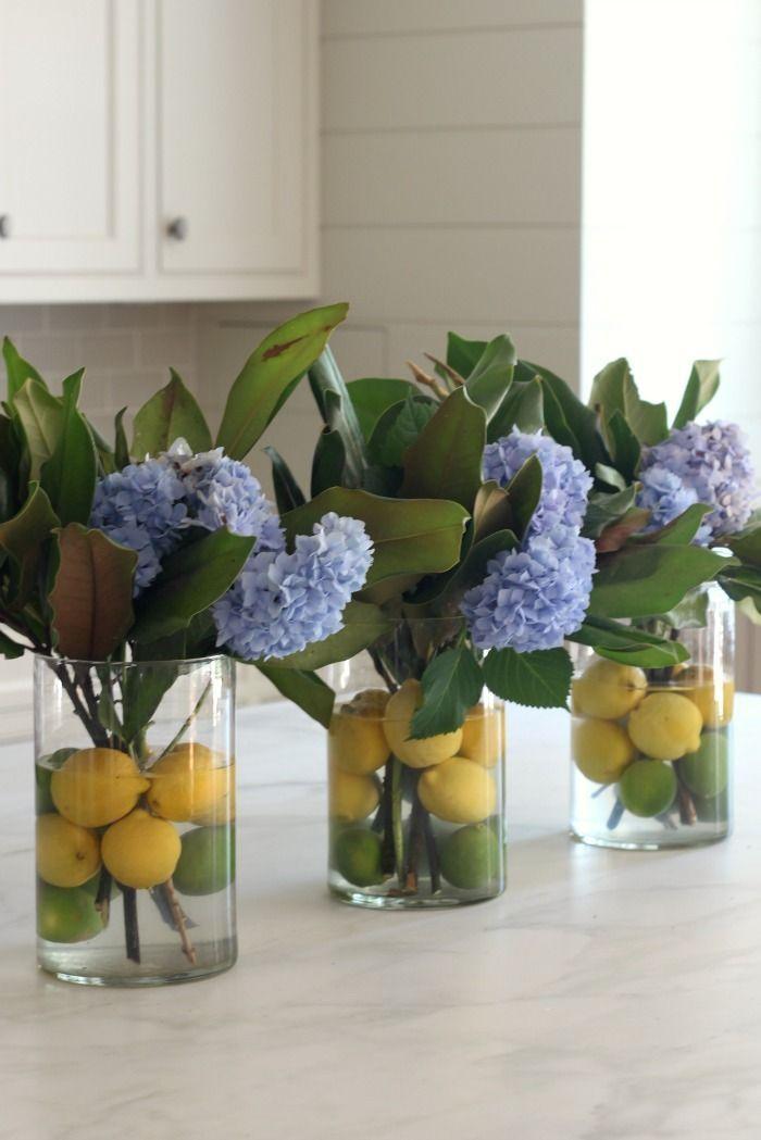 Photo of Citrus + Hydrangea + Magnolia Sommerblumengesteck. So eine nette Idee für ein … – Dekoration
