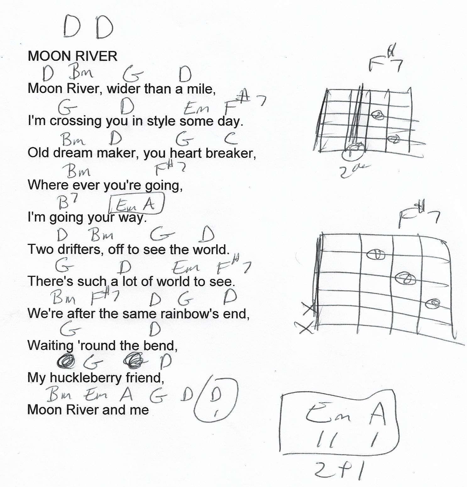 Moon River Slightly Simplified Guitar Chord Chart In D Major