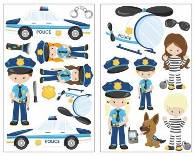 Great  teiliges Polizei im Einsatz Wandtattoo Set Polizei im Einsatz Wandtattoo Set