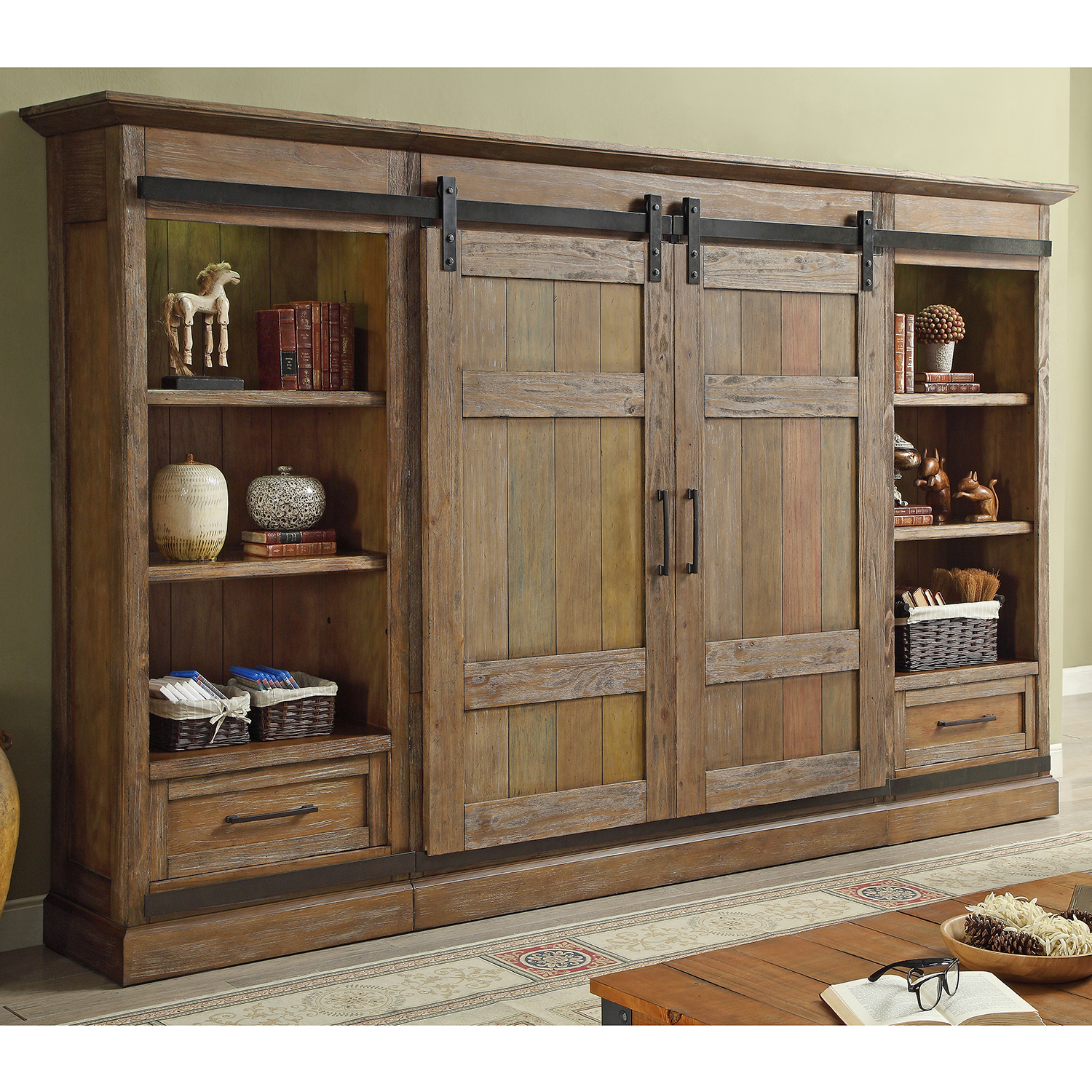 Hunt S Point 4 Piece Barn Door Entertainment Wall Unit In