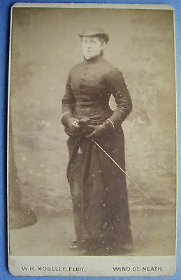 CDV Size Photo of Lady in Riding Habit by William H Moseley Wind St Neath | eBay