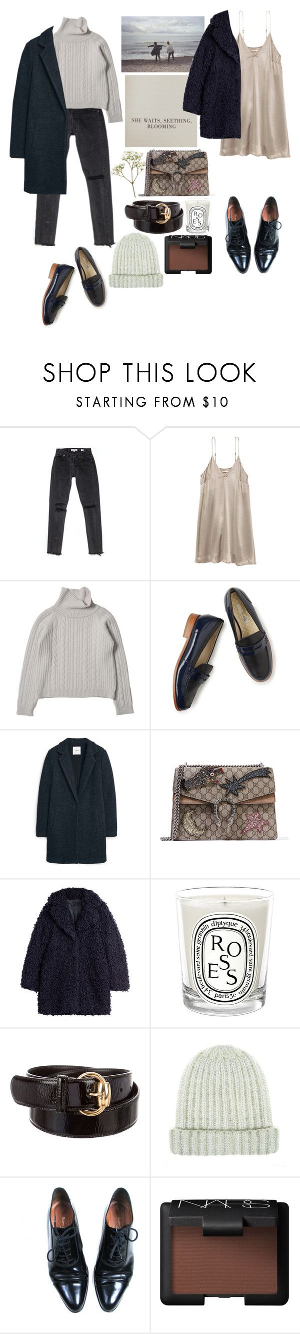 """""""she waits."""" by rsussher ❤ liked on Polyvore featuring Boden, MANGO, Gucci, Zadig & Voltaire, Diptyque, Ralph Lauren Black Label and NARS Cosmetics"""