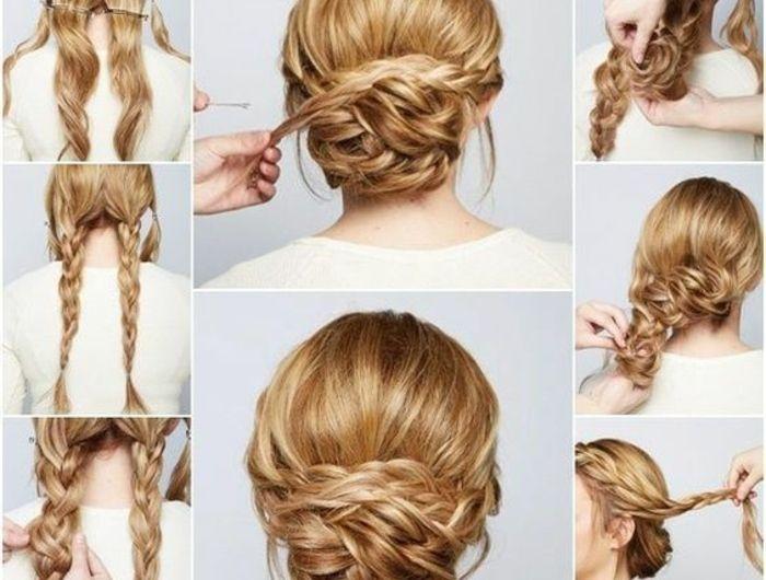 weiße bluse, lange, blonde haare flechten, hochsteckfrisur