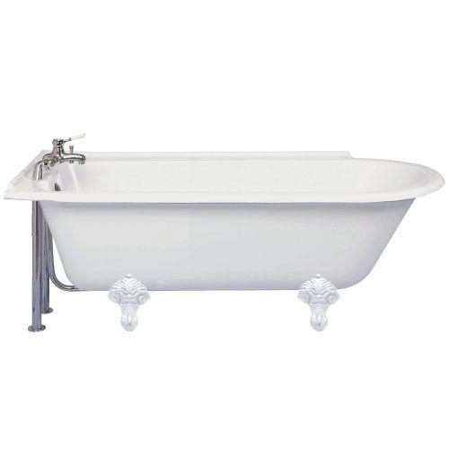 Norfolk showering bath with traditional resin feet left Bath