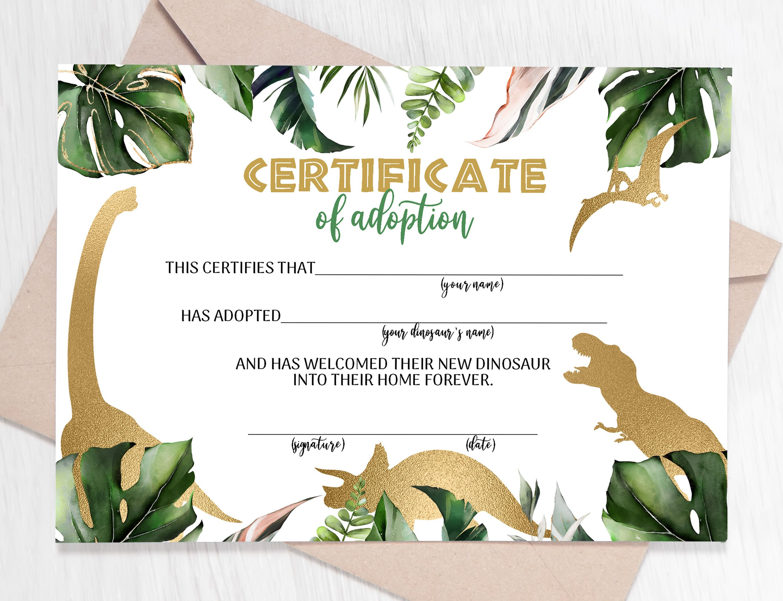 Adopt A Dinosaur Adoption Certificate Gold Dinosaurs Adoption Etsy In 2021 Adoption Certificate Barnyard Baby Shower Invitations Animal Baby Shower Invitations