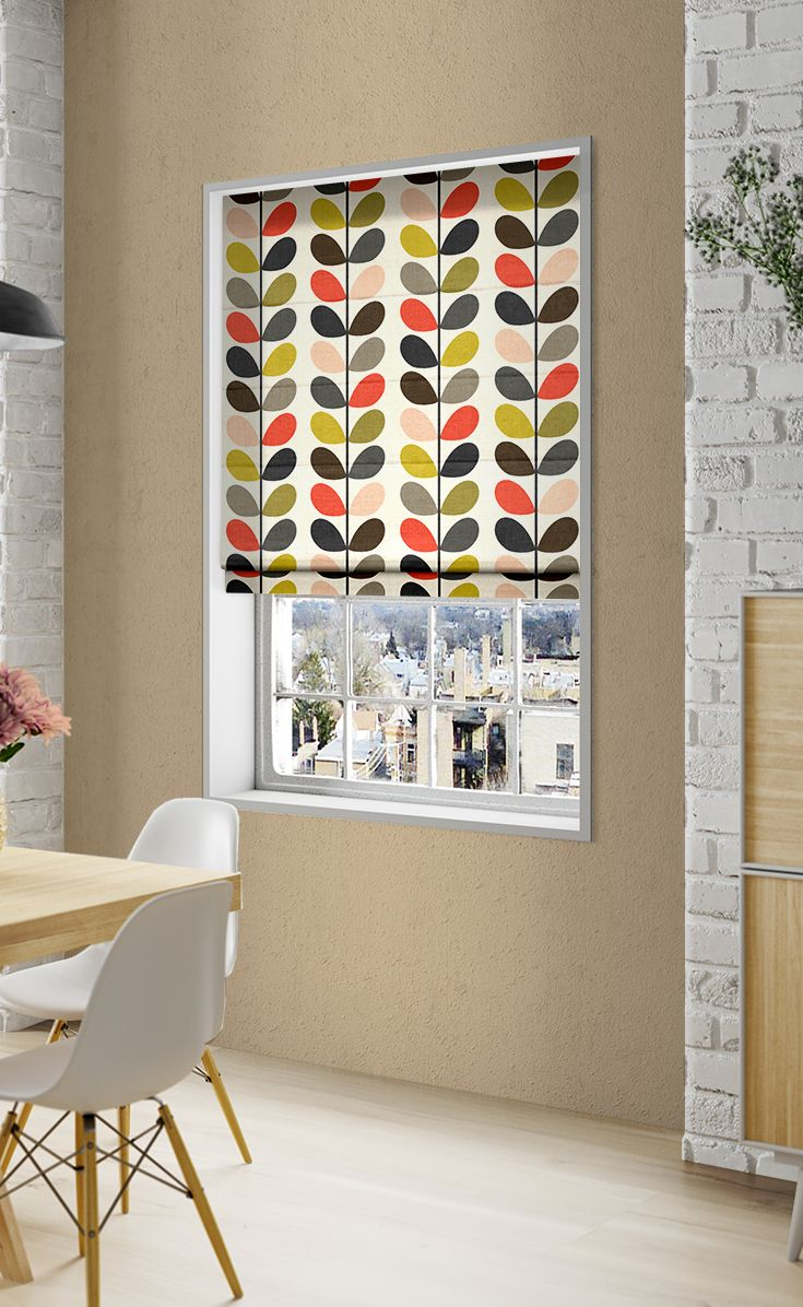 Kitchen window roman blinds  multi stem tomato roman blind  roman blinds orla kiely and roman