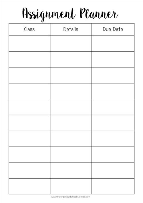 planner sheets for students