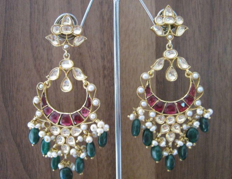 Silver Kundan Earrings