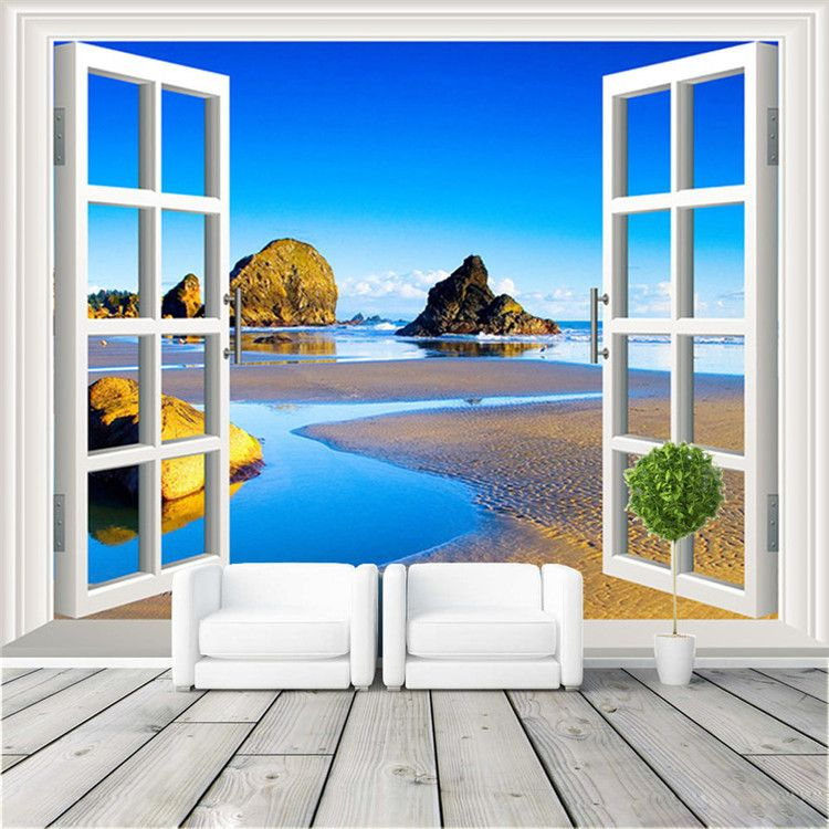 Cheap Window Photo Wallpaper Buy Quality Seascape Wall Murals Directly From China Tv Background Suppliers Natural Scenery Custom