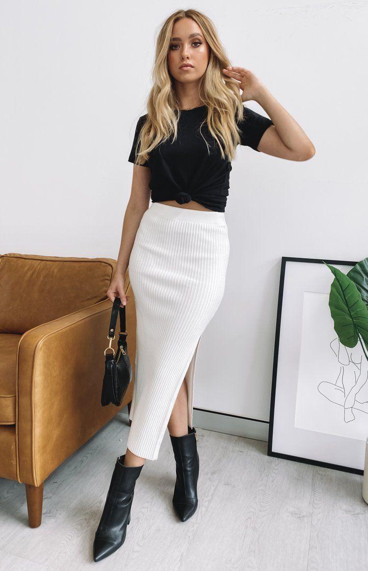 Laurena Knit Midi Skirt White