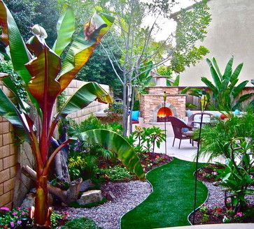 Small Es Ideas Tropical Landscape Large Banana At Entrance To Backyard Create Curved Stone Walkway The Fire Pit