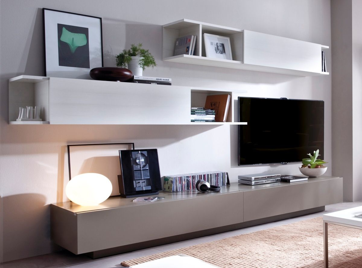 Mueble sal n blanco y madera buscar con google muebles - Muebles salon madera ...