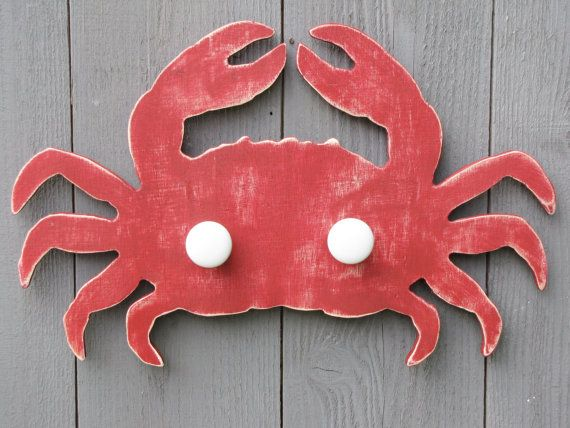Wood Crab Hand or Bath Towel Rack in the Color of Your Choice