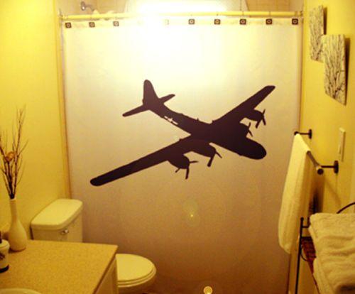 Bathroom Shower Curtain Airplane Plane Wwii Bomber B52 Aircraft Kid Custom Custom Stalls Fabric Shower Curtains Bathroom Shower Curtains