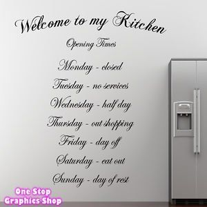1Stop Graphics   Shop Welcome To My Kitchen Wall Art Quote Sticker   Kitchen  Dining Room