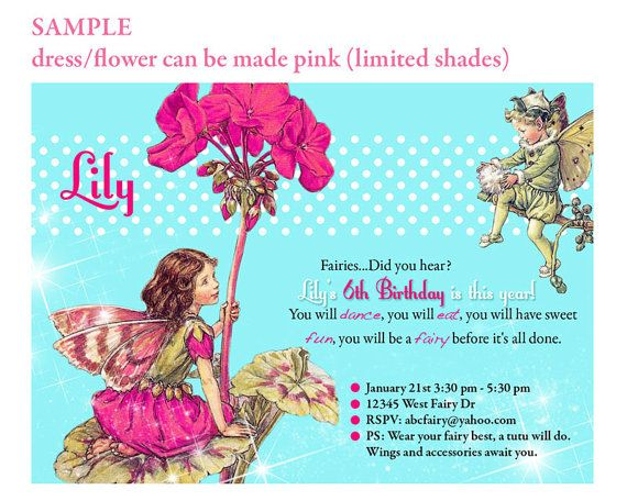 Printable Birthday Invitation Enchanted Fairy Tea Party DIGITAL Little Girl Customize 7th 5th Etc