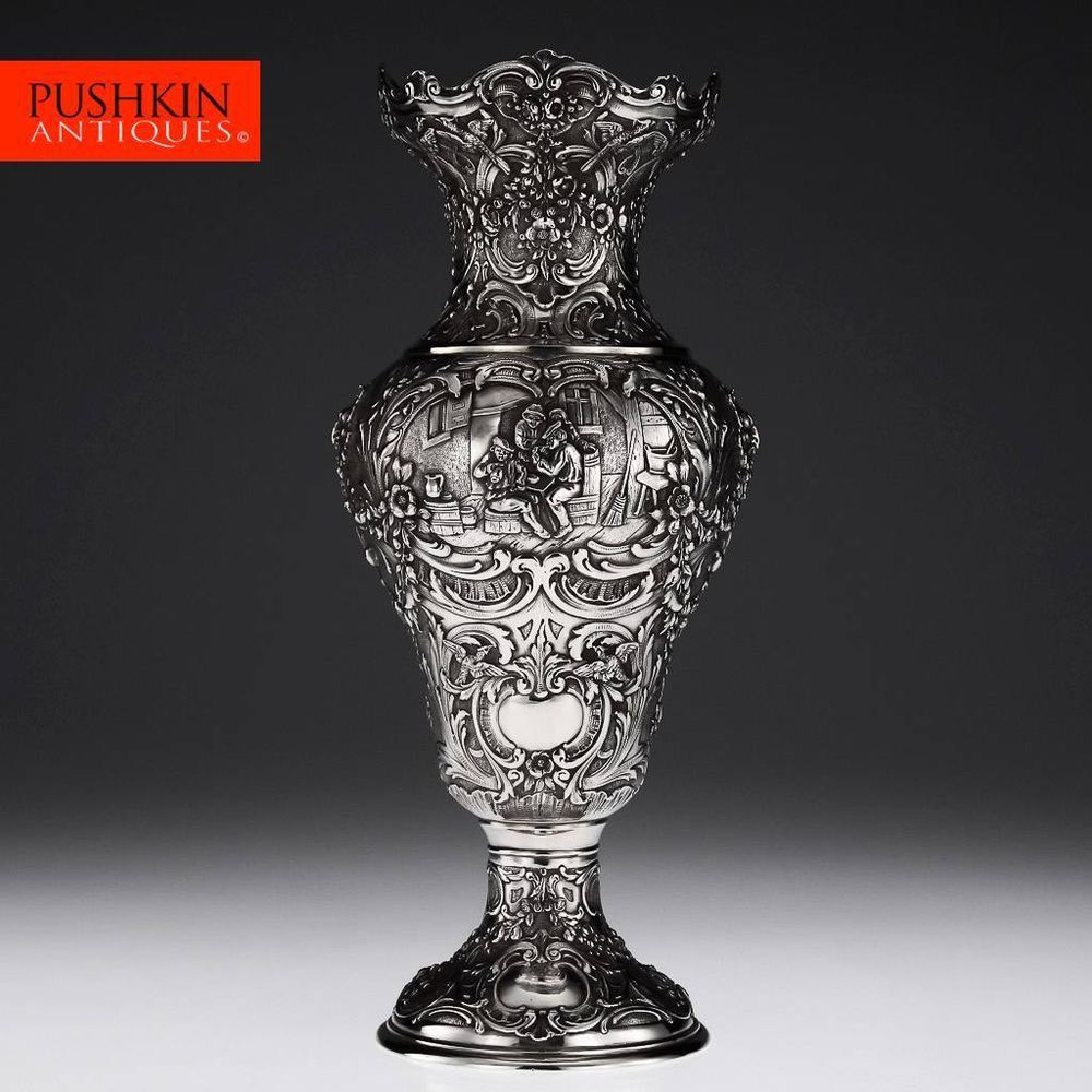 Large Decorative Urns And Vases Antique 20Thc German Solid Silver Large Decorative Vase