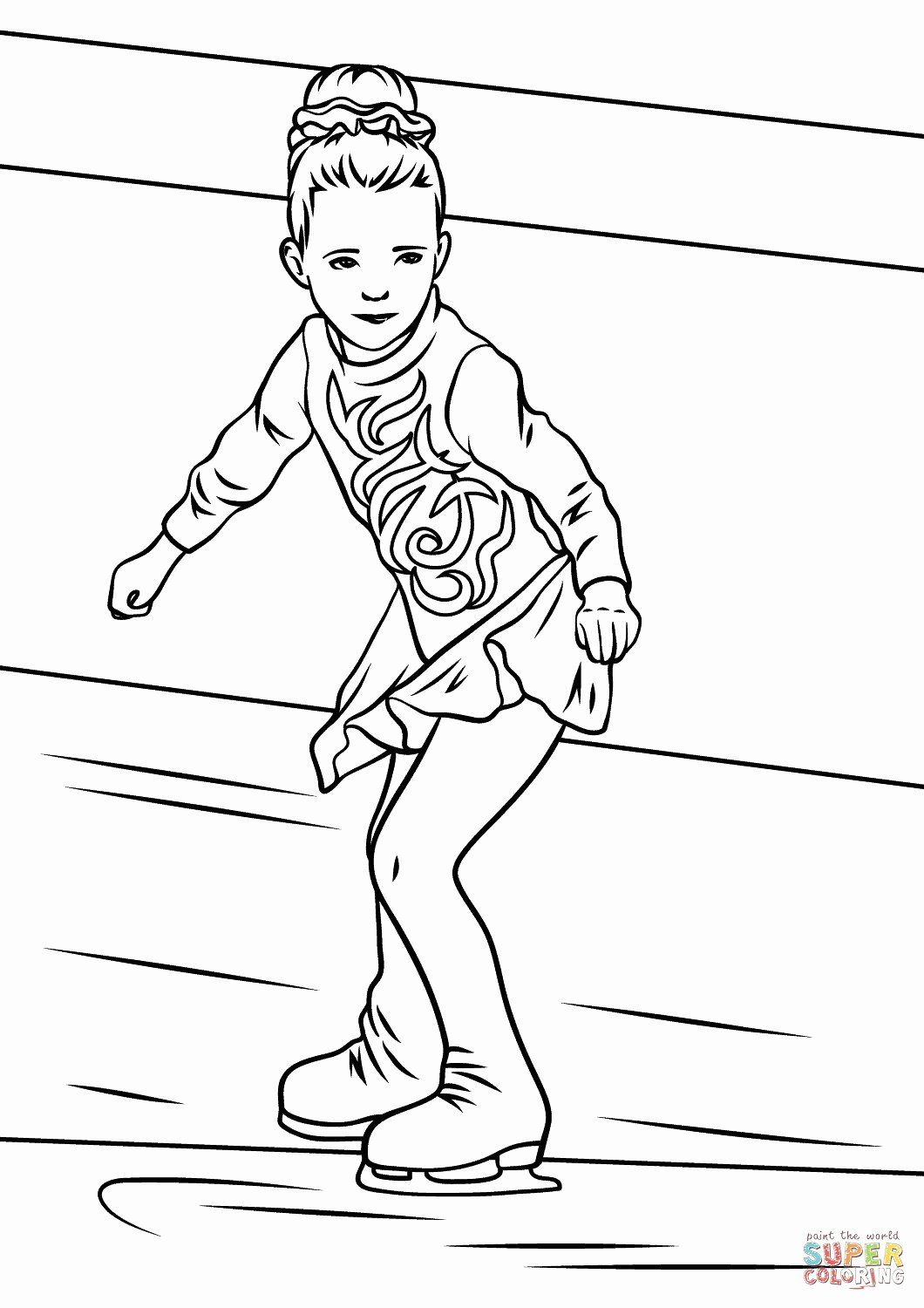 Playing Ice Skating Girl Coloring Page Coloring Pages Winter