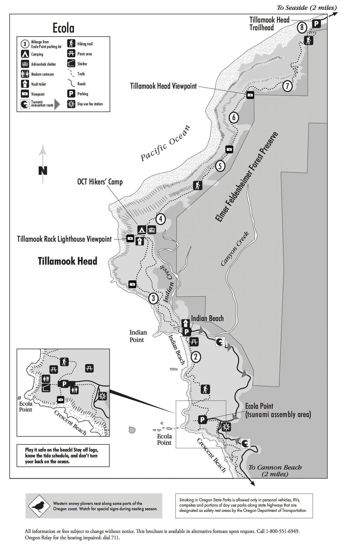 Ecola State Park Map Oregon Coast Ecola State Park State Parks
