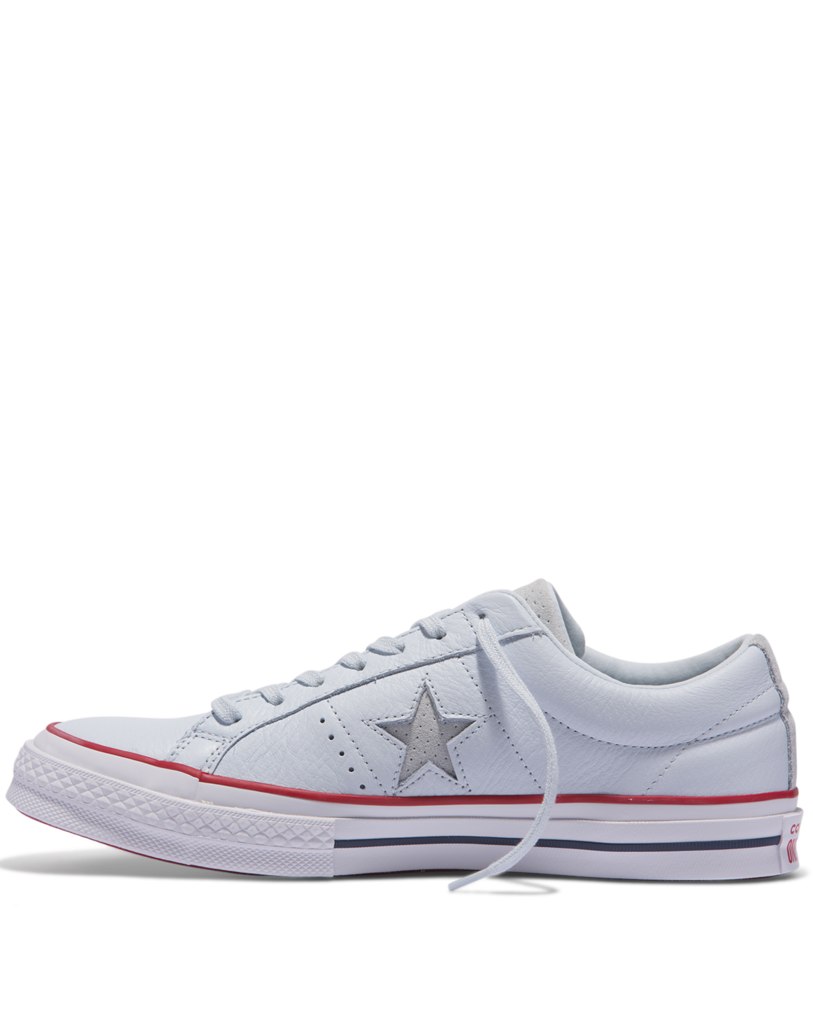 converse chuck taylors, White One Star Blue Star Laces Low