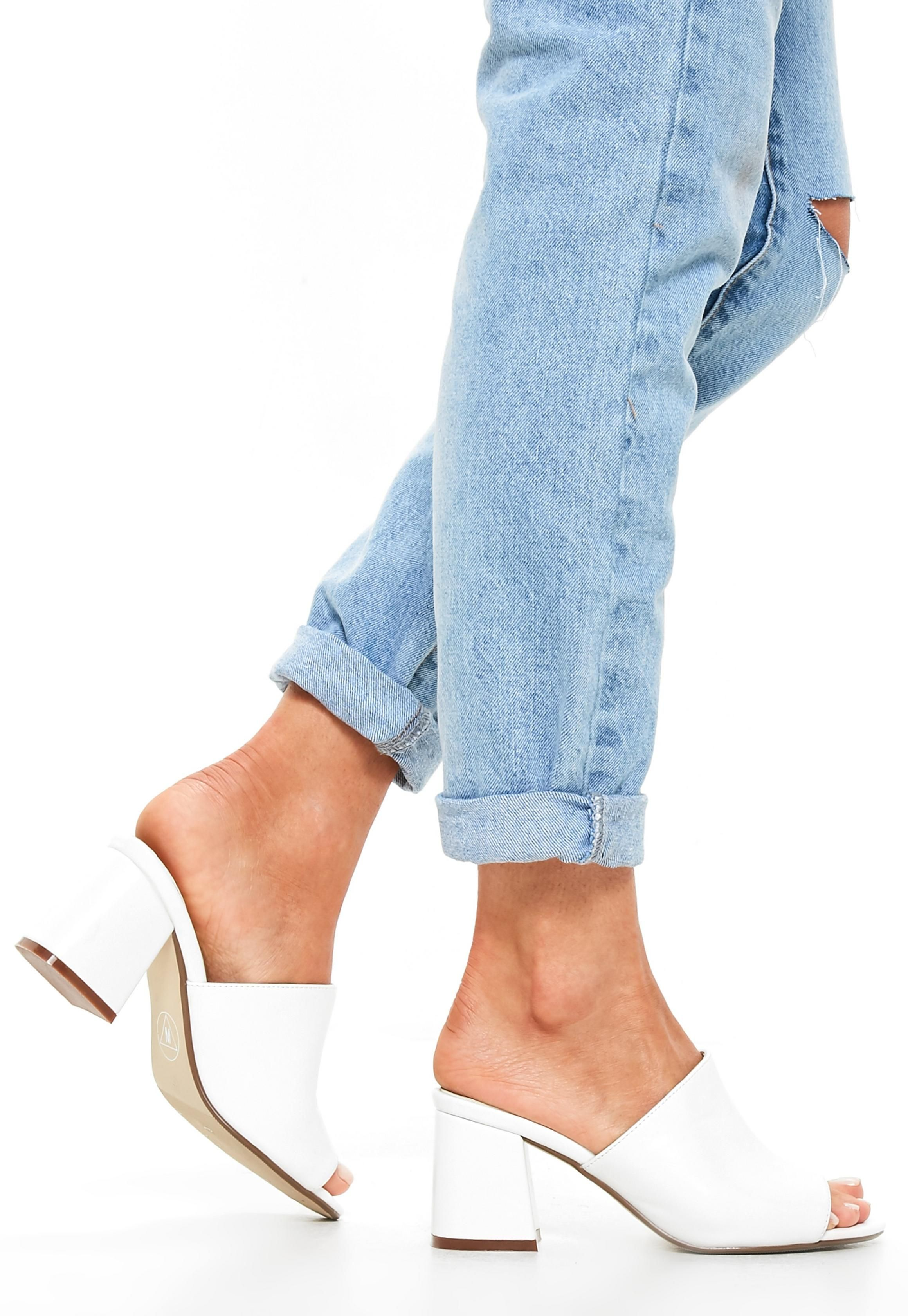 5056e020125e7 Missguided White Faux Suede Mid Flared Heel Peep Toe Mules | Things ...