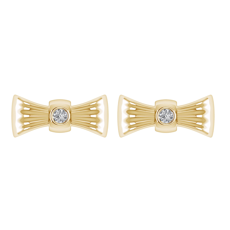 14k Yellow Gold Ribbon Diamond Stud Earrings Gold Earrings Etsy Gold Diamond Earrings Studs Etsy Earrings Gold Diamond Studs
